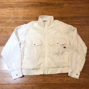 Vintage FILA 1990's white windbreaker jacket. MED